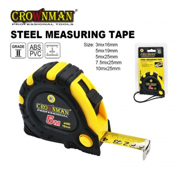 Crownman 3mx16mm Steel Measuring Tape ABS Case with TPR Coating【YJ0902523】