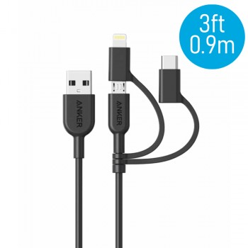 Anker A8436 PowerLine II 3ft 3-in-1 Lightning/Type-C/Micro Connector Cable - Black (0.9M)
