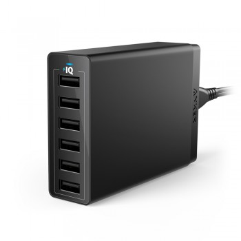 Anker A2123 PowerPort 60W 6-Port USB Desktop Charger - Black
