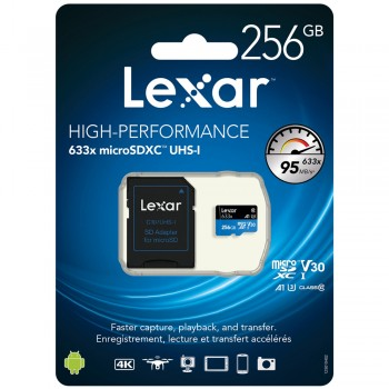 Lexar 633X microSDXC 256GB High-Performance A1 U3 UHS-I Memory Cards with SD Adapter (up to 95MB/s Read, Write 45MB/s)