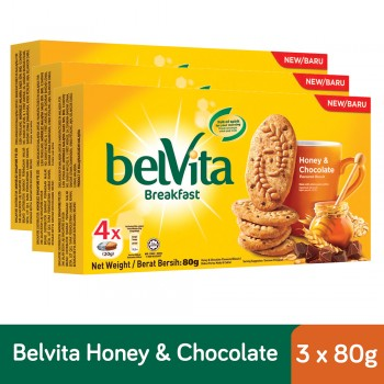 Belvita Breakfast Honey & Chocolate Biscuits (80g x 3)