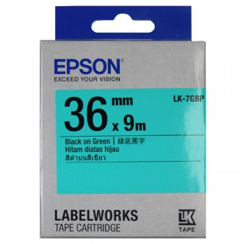 Epson LK-7GBP Label Tape 36mm Black on Green (Pastel)