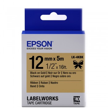 Epson Label Cartridge 12mm Black on Gold Satin Ribbon