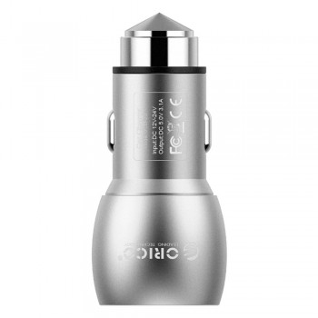 Orico 15.5W 2 Port USB Car Charger with Safety Hammer - Silver