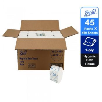 Scott® Control™ Hygienic Bath Toilet Tissue 06392 - 45 packs x 460 sheets white, 1 ply (20700 sheets)