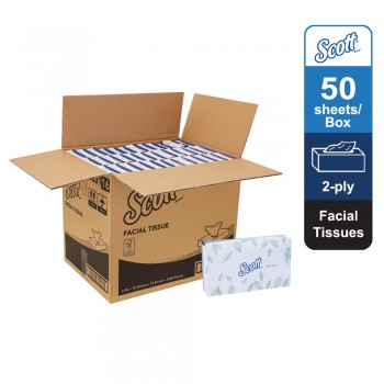 Scott® Facial Tissue 10631 - White, 2 ply, 1 x 50sheets (50 sheets) [72 boxes /carton ]