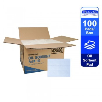 Oil Sorbent Pad 42880 - White, 1 Box x 100 Pads (100 pads total)