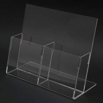 Acrylic 1/3 A4 Brochure Holder Stand 1 Layer - 99mm (W) x 210mm (H)