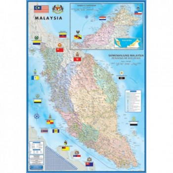 "Map Of Malaysia Large Peninsular M182M - (Magnetic) H28"" x W40"""