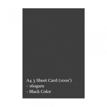 A4 3 Sheet Card 160gsm 100s' (Black)
