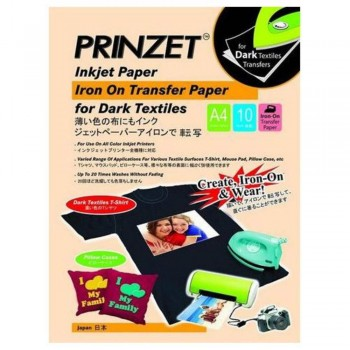 Prinzet Iron-On Transfer Paper - Dark Textiles - A4 - 10 sheets per pack (Item No: PRINZ IRON D A4) A1R4B170