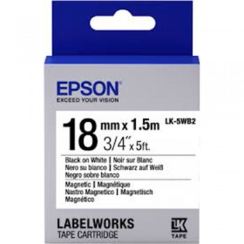 Epson Label Cartridge 18mm Black on White Magnetic