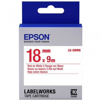 Epson Label Cartridge 18mm Red on White Tape (Common)
