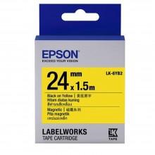 Epson Label Cartridge 24mm Black on Yellow Magnetic