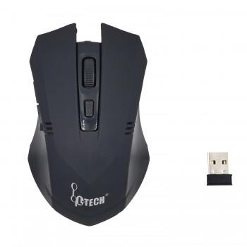 L-TECH Wireless Mouse Model 100 - BLACK - 2.4GHz Wireless, Operating Distance Up To 10m, 6-Key Optical Mouse 6D, 1600 DPI, Compact Ergonomic Design - WM-100BK BLACK